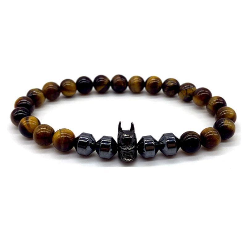 Perlen Armband 2020 Klassische schwarze Batman Charme Armband Mann Handgemacht 8mm Hämatit Tiger Eye Stein Perle Armband