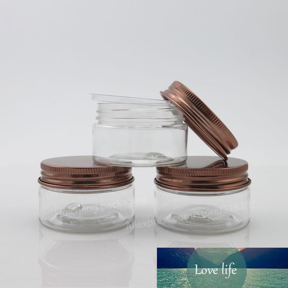 Пустые Pet Plastics JARS алюминиевые бронзовые крышки прозрачные горшки косметические 30G 1oz косметический контейнер 50 шт.