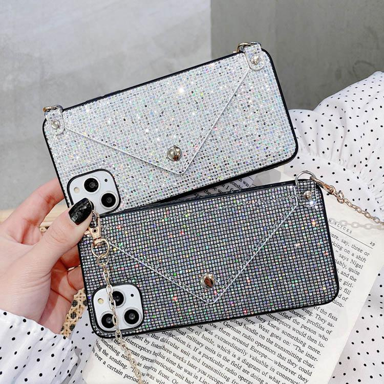 Gitter Luxury Rhinestone Crystal Leahter Cell Phone Cover Fashion Diamond with Chain Lanyard Phone Case for iPhone 12 Mini 11 PRO Max