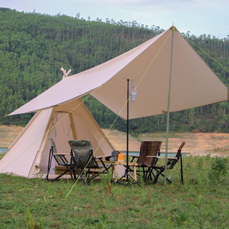Палатки и приюты Наружный хлопок / Оксфорд Палатка Добавить Sunshelter 3-4 Люди Кемпинг Пирамида Навес Навес Топ включает в себя Sunsheter