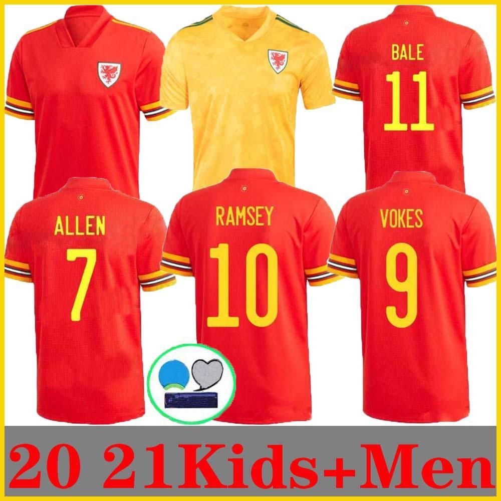 2020 2021 Уэльс Футбол Джетки 11 Bale 10 Ramsey RaMsey Rokes Allen James Wilson B.davies Custom Home Красная взрослая детская молодежная футболка