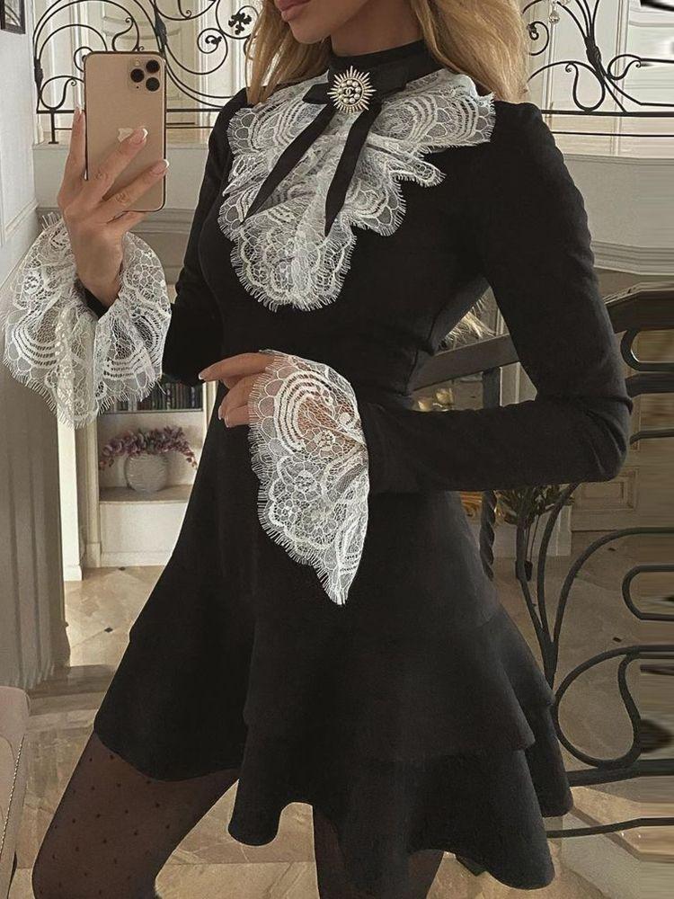 2021 Mujeres Moda elegante sexy manga larga pestañas de funda de campana volantes Vestido OL OL Classic Romántico Romántico Patchwork Mini vestido Q0111