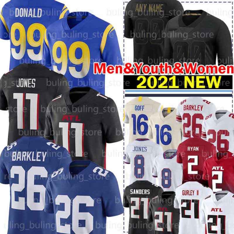 99 Aaron Donald Jersey 16 Jared Goff 26 Saquon Barkley 11 Julio Jones 21 Todd Gurley II Daniel Jones Matt Ryan Deion Sanders