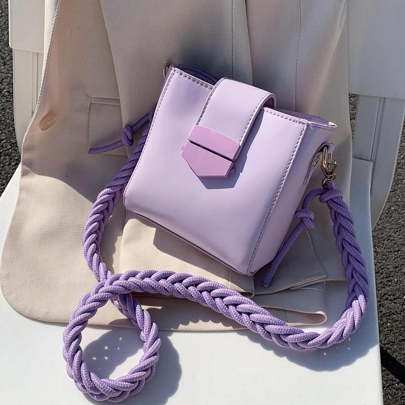 Casual Weave Strap Women Bucket Bag Crossbody Bags For Women 2020 Summer Sweet Mini Shoulder Bags Lady Travel Handbags Bag Sac C0308