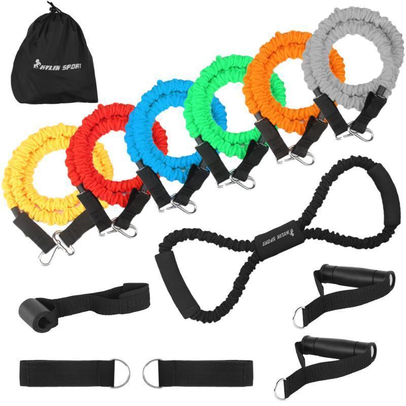 13шт сопротивляемость трубных полос Установлена нейлоновые рукава упругие упражнения Тренажеры ленты двери анкерные горнолыжные ремни Handleesthing Seather1