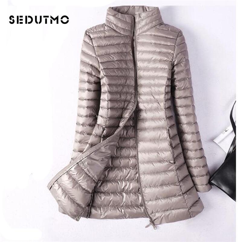 Sedutmo inverno plus tamanho 4xl mulheres para baixo jaquetas ultra luz pato para baixo casaco longo beber jaqueta slim preto parkas ed037 201214
