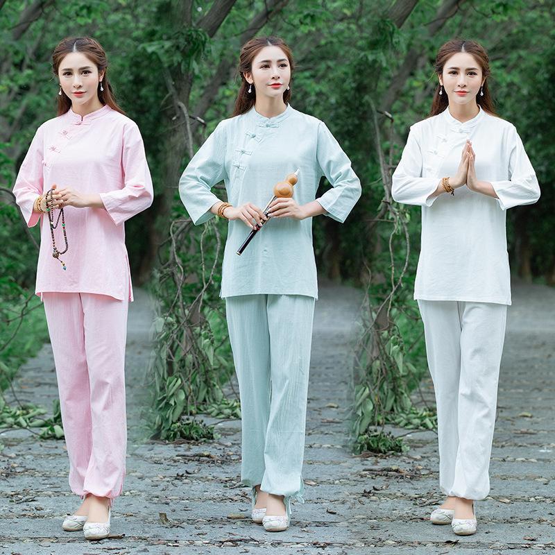 2020 Baumwoll Hanf Frauen Herbst Chinesische Taste Tee und zweiteilige sieben Sleeve Yoga Anzug