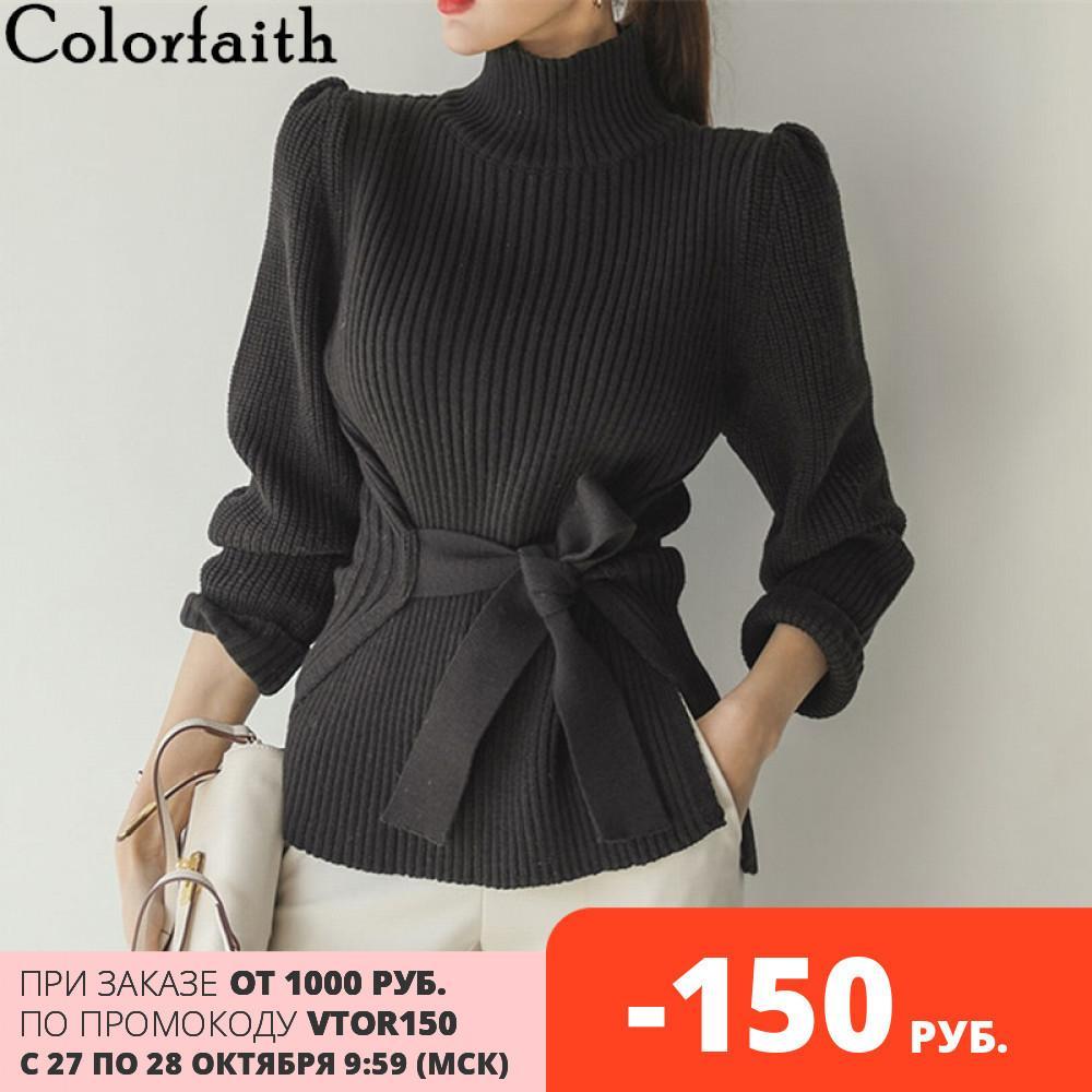 Colorfaith novo outono inverno mulheres camisolas elegante casual minimalista elegante tops turtleneck tricô lace up sw180 201031