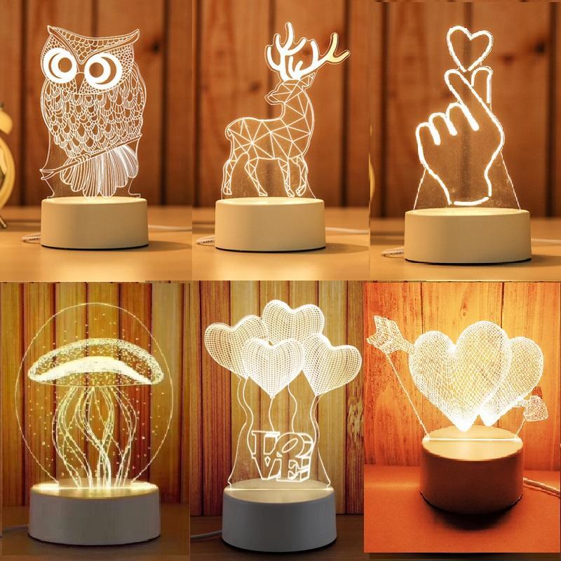 3d بقيادة مصباح الإبداعية 3d أدى أضواء الليل الجدة rgb وهم مصباح الليل 3d الوهم الجدول مصباح للديكور المنزل