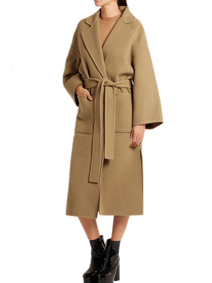 Cuello de solapa Manga larga Mujeres Outwear Abrigos largos con cinturón Asimétrico Fashion Fashion Winter Warm Cálido Cashmere Wool Ladies Coat