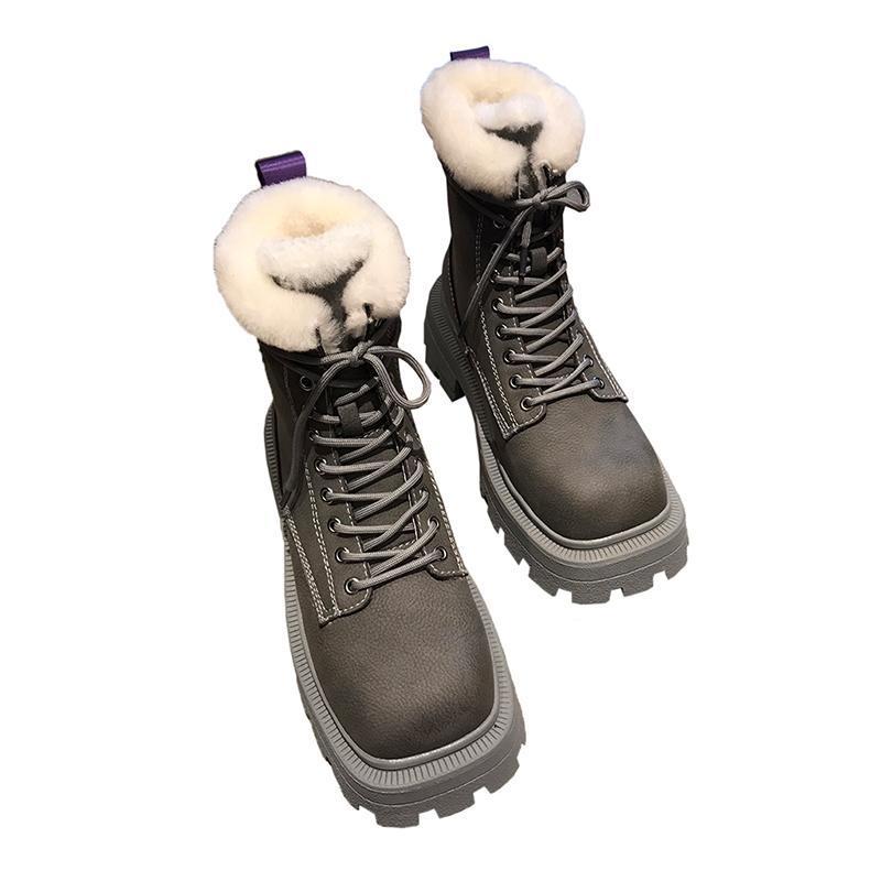 Bottes de plateforme de la plate-forme épaisse en cuir véritable de la plate-forme d'épaisseur de la laine naturelle de la lace de neige chaude Bottes de neige occasionnels Femmes de peluche