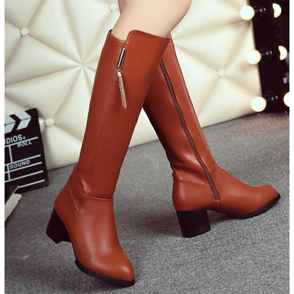 أنثى جودة عالية بو الجلود الركبة الشتاء مريحة النساء أحذية طويلة الأحذية 2020 جديد