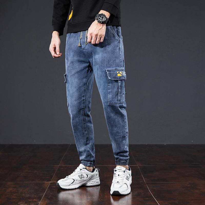 Autumn New Safari Estilo Elastic cintura solta Casual reto japonês selvagem na moda Harem Pants Men