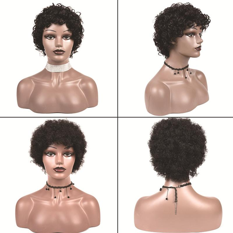 Short Curly Human Hair Wigs Afro Kinky Curly Human Hair Wig Peruvian Short Hair For Woman Full Machine Made Wigs