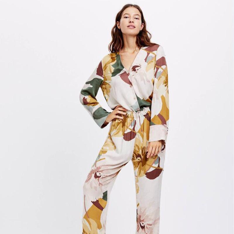 Primavera autunno in cotone stampa floreale pigiama donna manica lunga con scollo a V sexy pijama mujer loungewear a casa sleep usura vestiti set