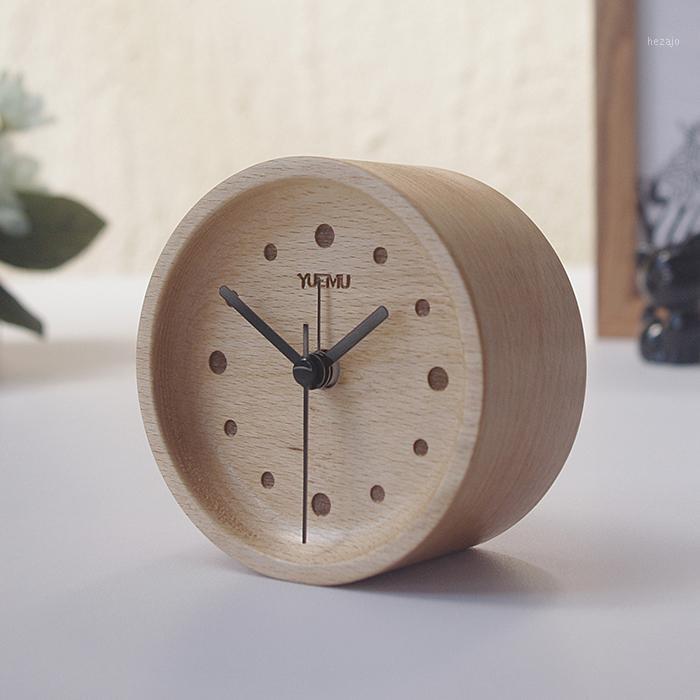 Буковая древесина будильника немой творческий прикроватный студент Nordic минималистский мини личностный спальня японский стиль деревянный стол