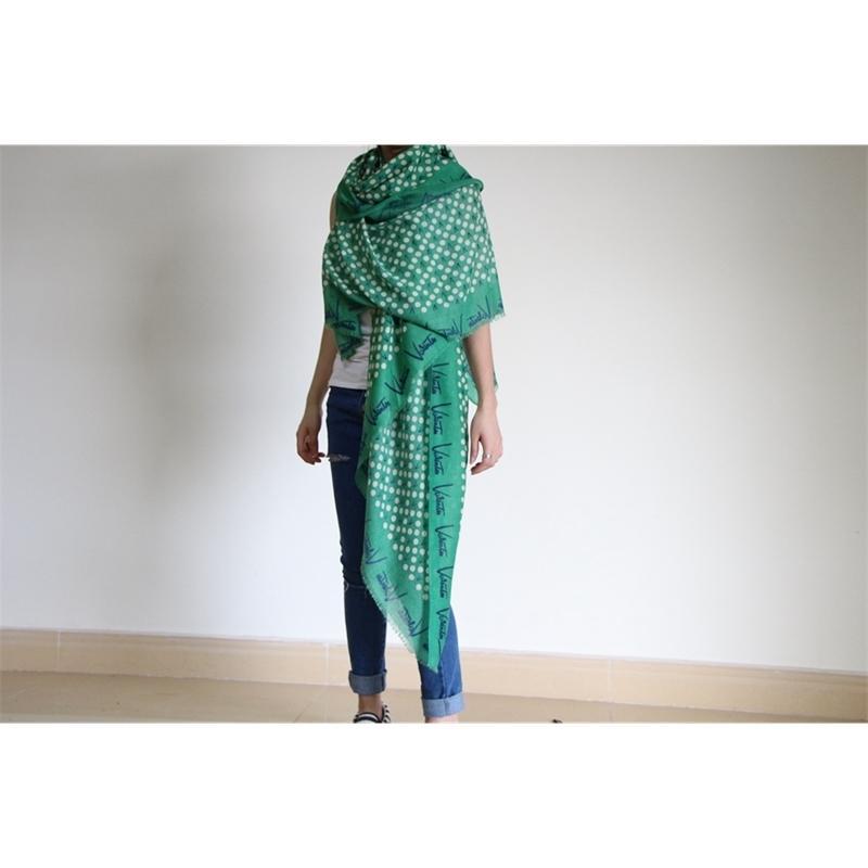 Green Winter Cotton Longue confortable Echarpe White Dots Femme Gardez une grande forme de châle