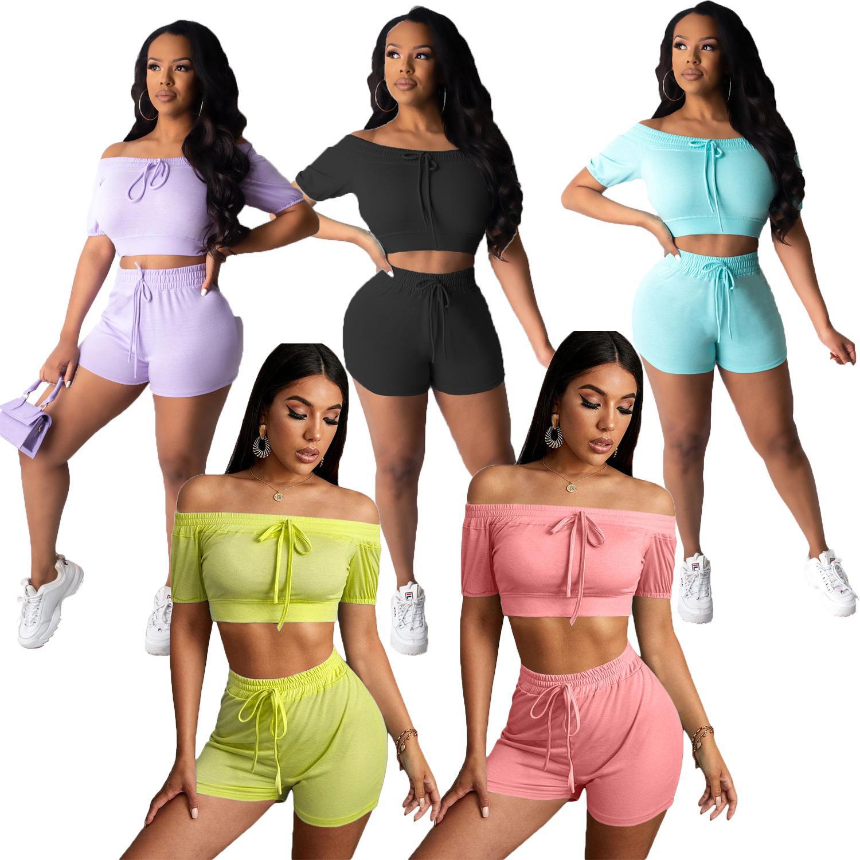 Sexy Frauen Zwei Stück Outfits Solide Farbe Home Sports Anzug Mode Sommer Frauen Kleidung Plus Größe Frauen Kleidung S-XXL