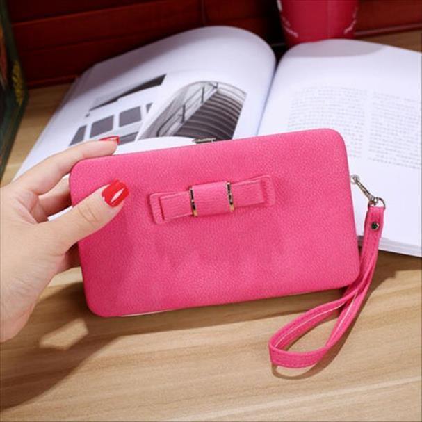 Sıcak Satış Moda Kız Kadınlar Lady PU Deri Debriyaj Cüzdan Uzun Kart Sahibinin Çanta Kutusu Çanta Çanta 6 Renkler
