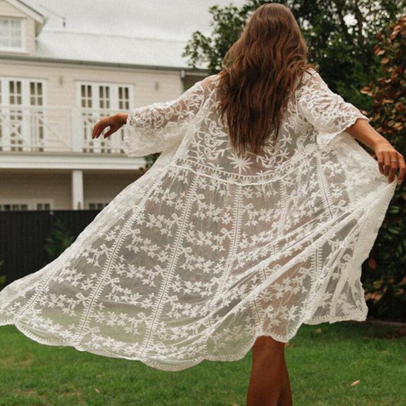 Sommer Frauen Kleid Stickerei Halbhülse Chiffon Kimono Strickjacke Tops Bluse Damen Kleider Sommergut Floral Beach Kleid