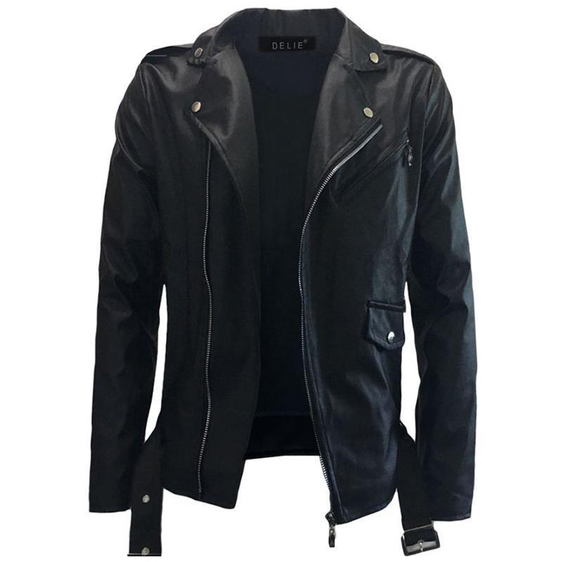 Erkek Kürk Faux Mogu Siyah PU Deri Ceket Rahat Motosiklet Sonbahar Ve Kış Moda Artı Boyutu 3XL