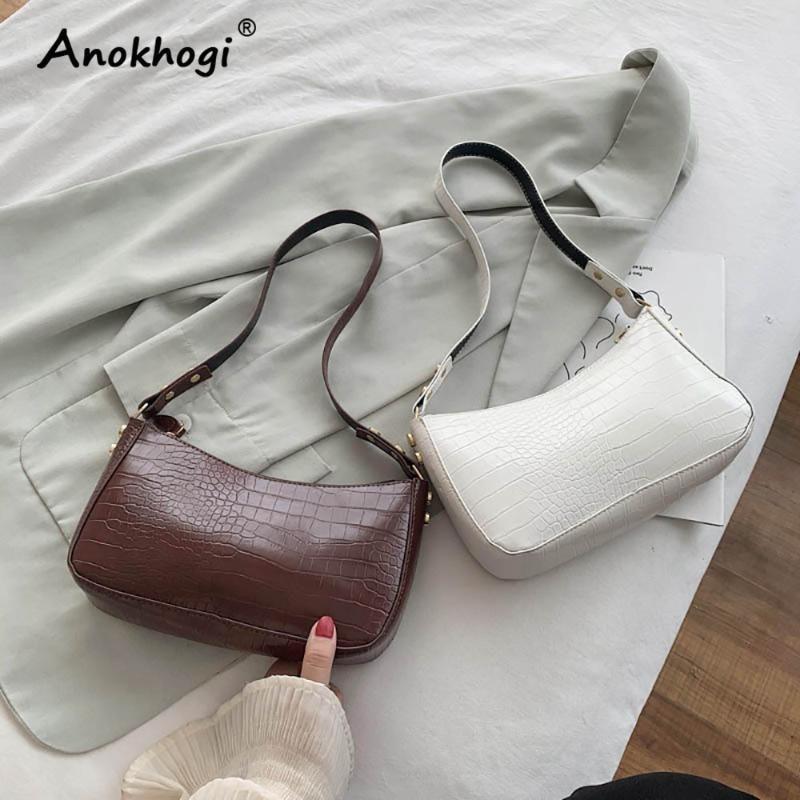 Krokodil Casual PU Underarm Reißverschluss Tasche Frauen Handtasche Damen Muster Baguette Schulter Vintage Vuqxx
