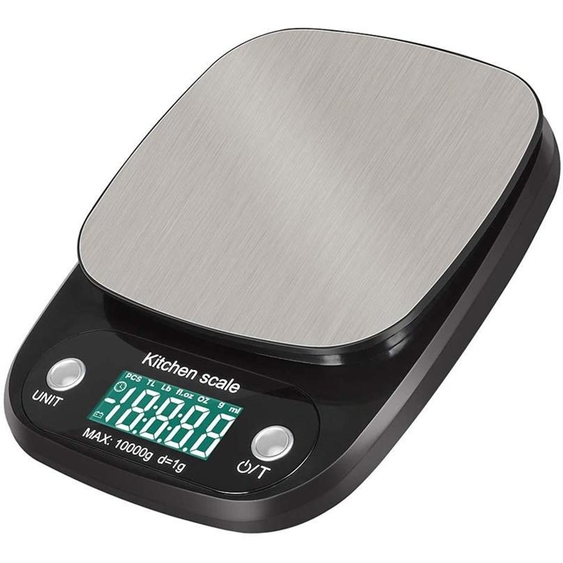 Escala de cozinha eletrônica 22lb / 10 kg de aço inoxidável balança de alimentos de pesagem digital para cozinhar cozinhar com display LCD 201212