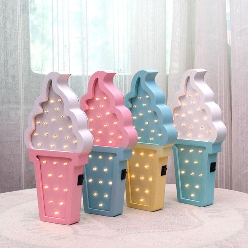 Украшение партии Прекрасное 3D деревянное мороженое светодиодные ночные светлыми спальнями лампа аккумуляторные стены стены для детей дома декоративный
