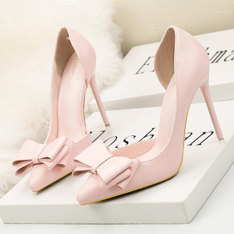 Mujeres bombas PU resbalón en 10.5 cm tacones delgados tacones puntiagudo puntiagudo punteado mariposa-nudo zapatos de mujer zapatos de mujer tamaño 35-421