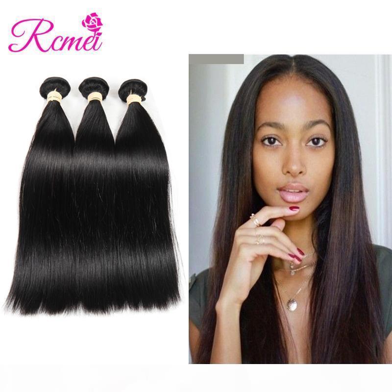 RCMEI não processado cabelo humano tecelagem 3 pacotes retos peruanos naturais cabelo preto 8-28 polegadas 3 pcs lote