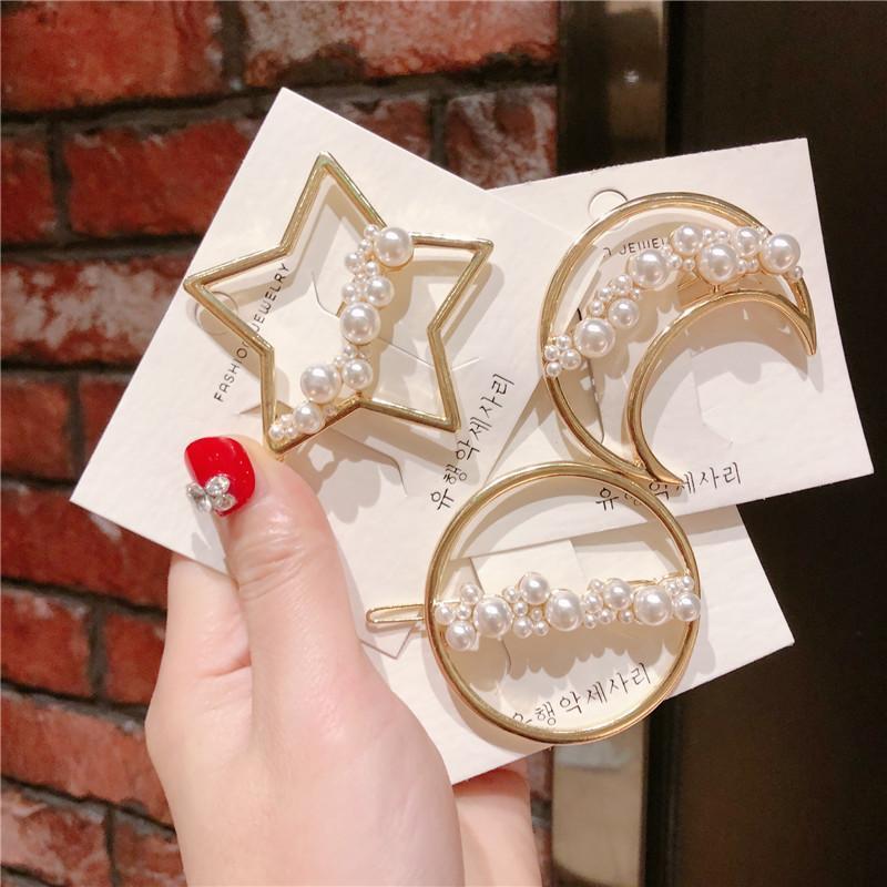 Novo metal geométrico redondo oco estrela lua lua cabeleira charme mulheres meninas pérola cabelo clipe coreano doce barrete barrete jóias hc029