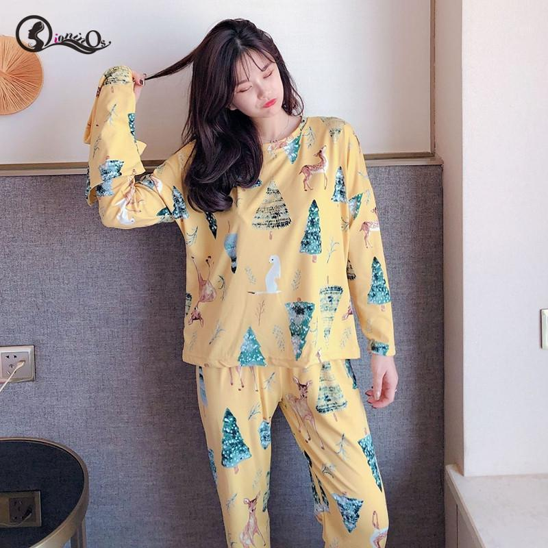 3pc mujeres pijamas conjunto primavera otoño nuevo fino dibujos animados impreso manga larga ropa de dormir lindo ropa casual homewear hembra pyjamas1