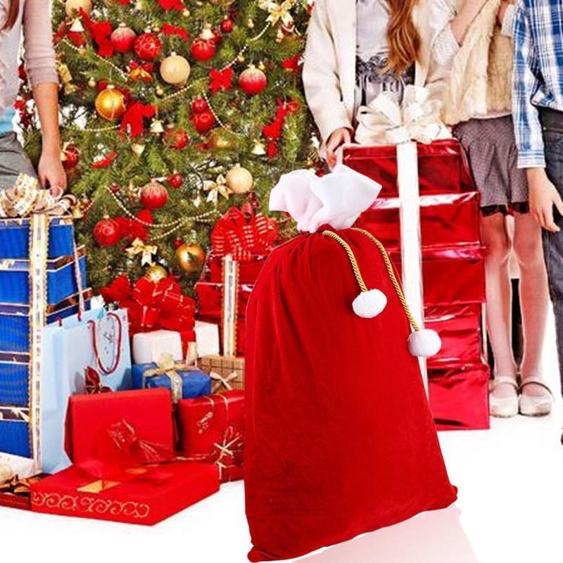 90x55 cm de grande taille Nouveau Sans cadeau de Santa Claus rouge Velvet Santa Claus Cordon Sac à cordon de Noël Classic Sac rouge Décor