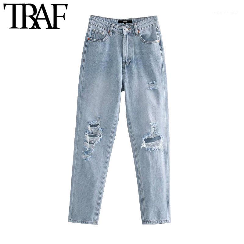 TRAF Women Chic Fashion Romed Hole Bolsets Lado Jeans Vintage High Cintura Zipper Denim Tobillo Pantalones Mujer1