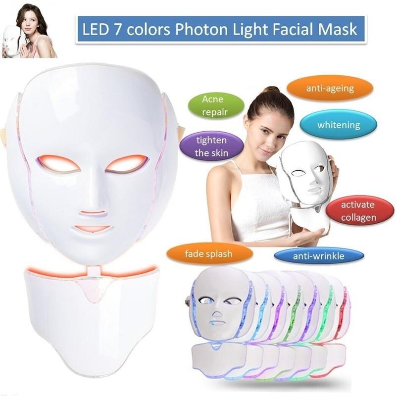 7 ألوان أدى الجمال قناع الضوئية ضوء العلاج الحروفية ems الجلد تجديد الوجه قناع الوجه امرأة الجمال آلة آلة كهربائية