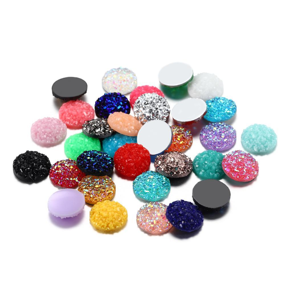 30pcs/lot 12mm Mix Colors Bumpy Shape Round Resin Cabochons Diy For Pendants Earring Epoxy Jewelry Making Finding Supplies Craft Q sqckhD