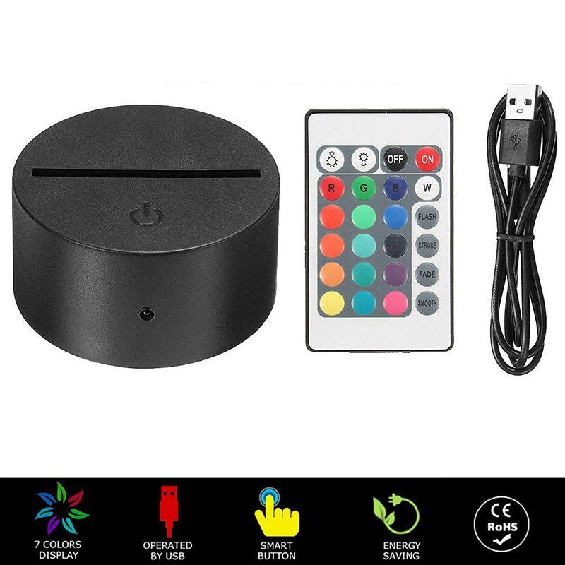 휴대용 ABS 원격 제어 터치 센서 스위치 여러 가지 빛깔의 3D LED 라이트 야간 램프 기본 테이블 장식 홀더 Porta Lampada 야간 조명