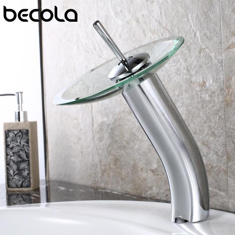 Faucets de lavabo de baño Becola Cuenca Faucet Cascada Sput Chrome Acabado de vidrio 360 Swivel Individual Handle Mixer Agua Grifo