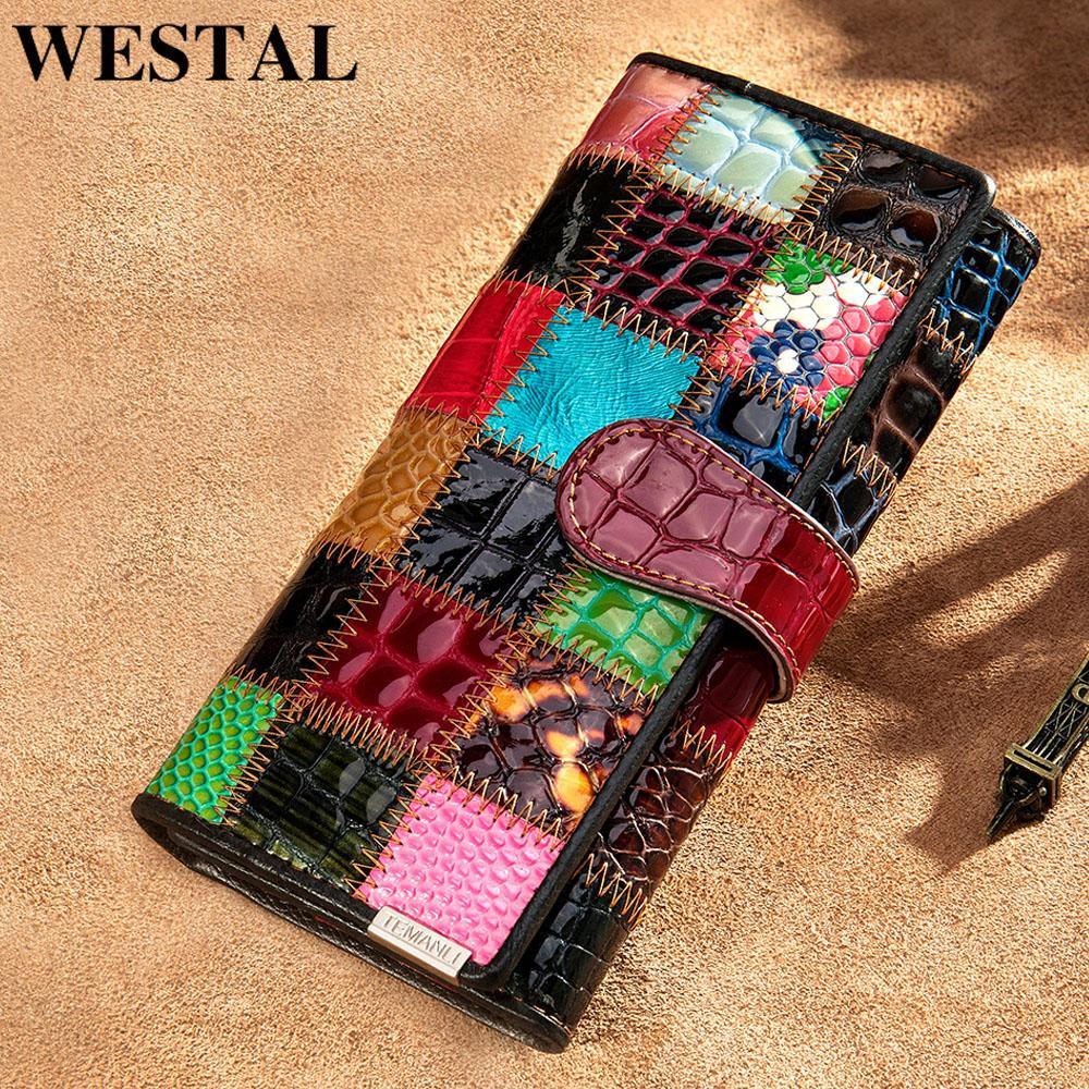 Westal Brieftasche für Frauen Reißverschluss Damen Clutch Taschen mit Handy Frauen Brieftasche Echtes Leder Weibliche Patchwork Brieftasche Lange 420