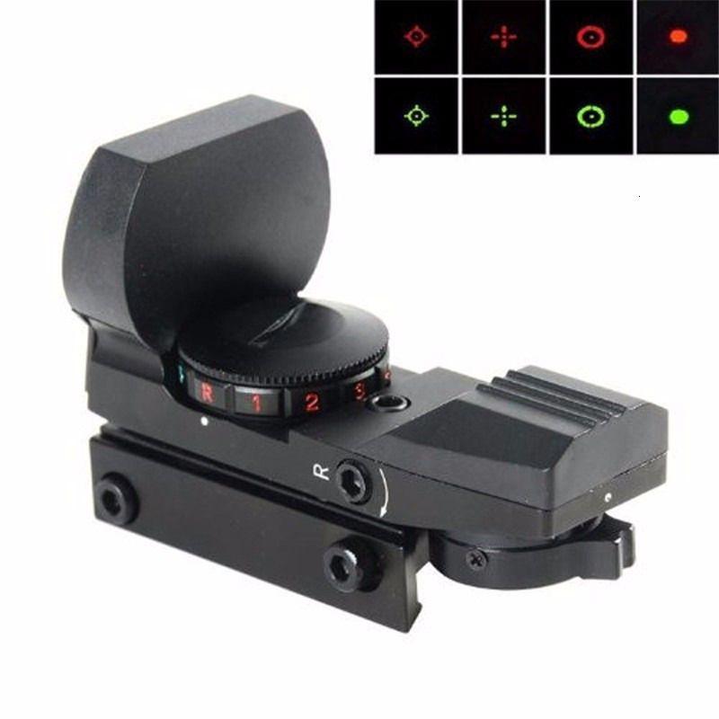 Holografisches Zielfernrohrreflex 4 Reticle 20 / 11mm Schiene Jagdoptik Rot Grüner Punkt Taktischer Sichtraum mit Halterung