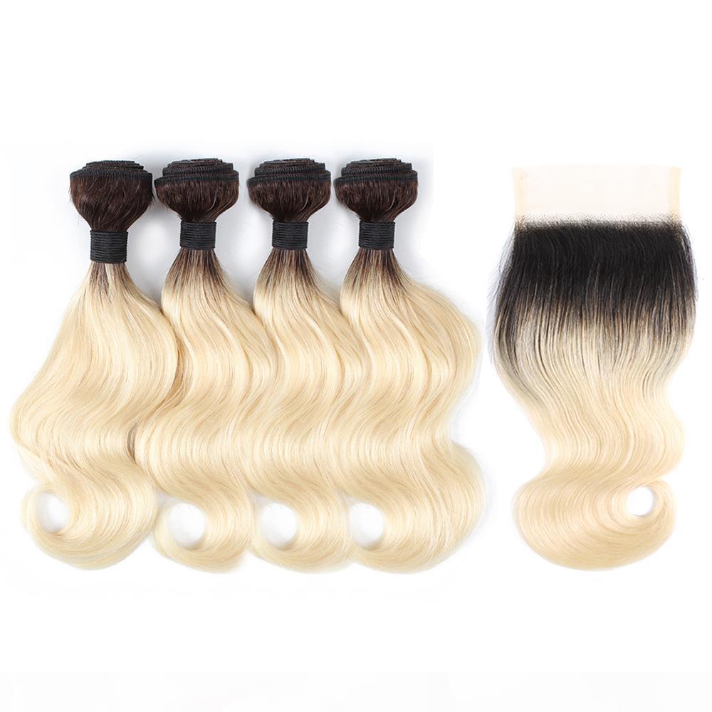 1B613 Ombre loira corpo onda cabelo pacotes com fecho 50g pacote 10-12 polegadas curtas Bob Estilo 4 Bundles Brazilian Remy Human Human Extensões