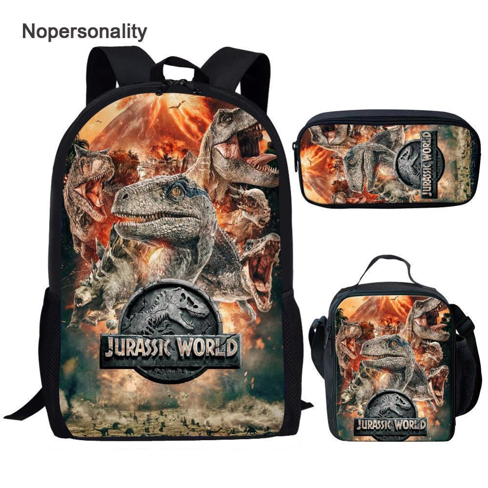 Nopersonality Cool T-Rex Dinossauro Sacos de escola definir bookbags para adolescentes 3 pcs mochila primária com lancheira lápis sacos lj200917