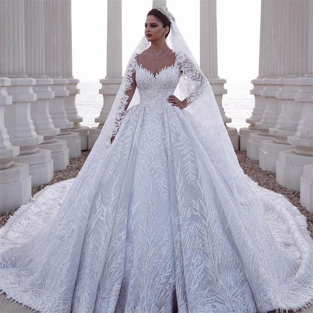 2020 Luxurious frisada Árabe Um vestidos de casamento da Linha Cristais Lace apliques Tulle cabido vestidos de noiva Plus Size