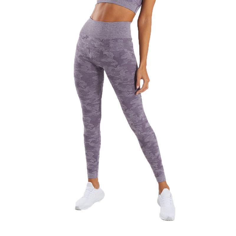 Trajes de yoga Alto Camuflaje Impreso Fitness Leggings Mujeres Cintura Pantalones Gimnasio Deportes Sportswear Elástico Trex Treuse