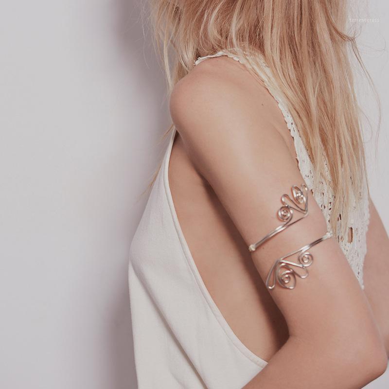 Egyptian Boho Gold Geo Hoop Open Upper Arm Cuff Armlet Armband Bangle Bracelets For Women Pulseira Masculina Anime Jewelry1