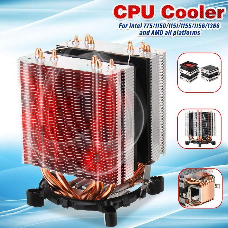 LEORY CPU Cooler 6 Heat Pipes Dual Fan Cooler Quiet Cooling Fan Heatsink Radiator for Intel 775/1150/1151/1155/1156/1366 and AMD
