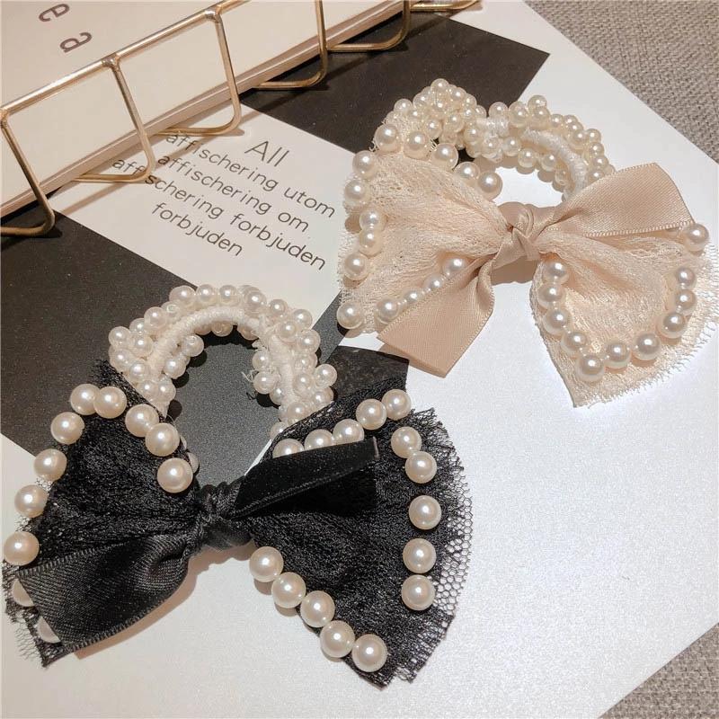 Мода тканевые жемчужные лук кольцо оголовье упругая резиновая полоса волосы волос аксессуары для волос женщин девочек головные уборные волосы веревка