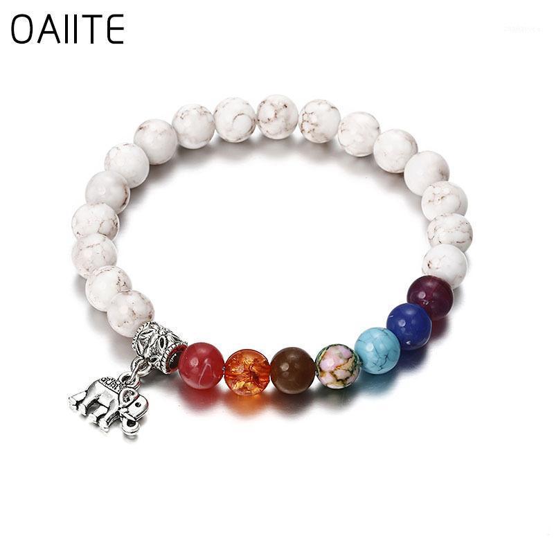 Beaded, Strands OAIITE Natural Stone Bead Men's And Women's Bracelet Chic Silver Color Elephant Pendent Vintage Boho Charm Bracele