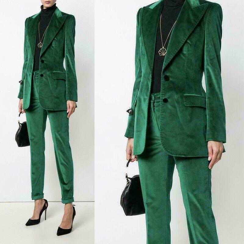 Mulheres verdes ternos de escritório senhoras calças de veludo terno 2 peça formal negócio blazer tamanho personalizado e cor