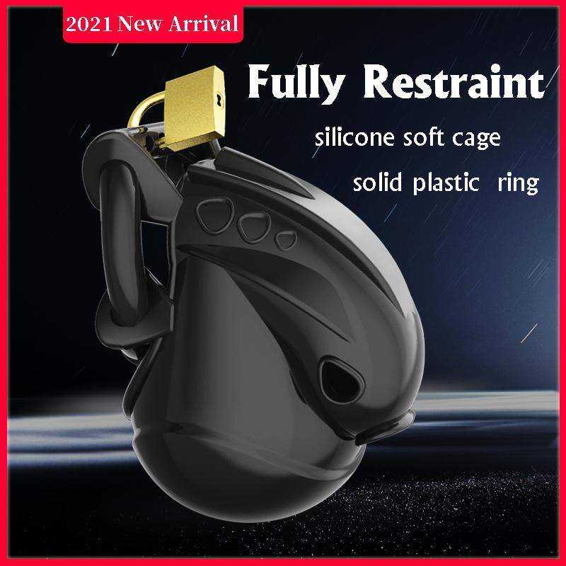 CHASTE BIRD 2021 New Male Fully Restraint Chastity Device Silicone Cock Cage Adjustable Cuff Penis Ring Anti-off Belt Sex Toys